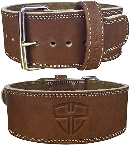 Steel Sweat Weight Lifting Belt - 4 Inches Wide by 10mm - Single Prong Powerlifting Belt That's Heavy Duty - Vegetable Tanned Leather - Hyde Brown Large (Powerlifting Belt Large)