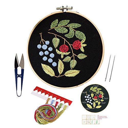 Full Set of Handmade Embroidery Starter Kit with Partten Including Embroidery Cloth,Bamboo Embroidery Hoop, Color Threads, and Tools Kitfor Beginner
