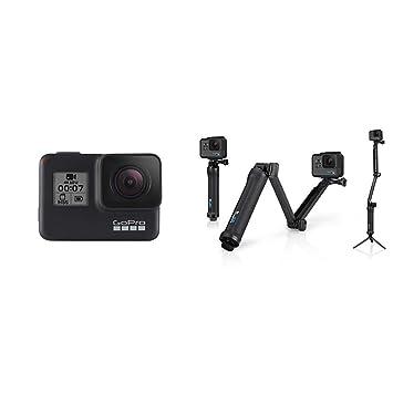 GoPro HERO7 Black + soporte portátil 3-Way - Cámara de acción (sumergible hasta