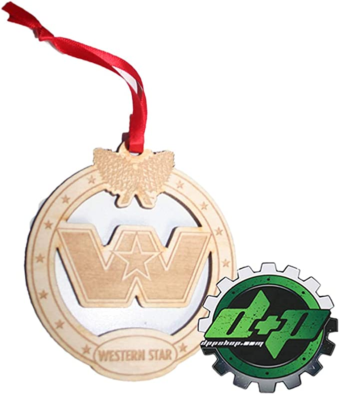 Diesel Power Plus Western Star Logo 3 5 Inch Christmas Tree Ornament Holiday Truck Mirror Dangle Sports Outdoors