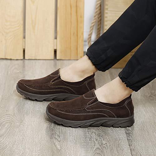 Slip Viaggi in Sneaker Tela Penny Antiscivolo Mocassini On Lavoro Uomo da Scarpe Mocassini per Cachi Leggere ZHShiny Walking Sera di Driving wqvI6Tx46