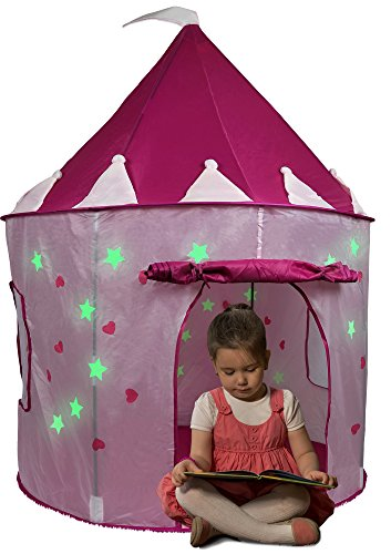 Click n' Play Girl's Pink Princess Castle Play Tent - Stars Glow in the Dark -