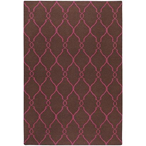 Surya Jill Rosenwald Fallon FAL-1012 Transitional Hand Woven 100% Wool Dark Chocolate 5' x 8' Global Area - Woven Chocolate Wool Hand
