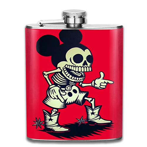 CFECUP Stainless Steel Flask Mickey Mouse Skull Wine Bottle with Lid Leak Proof 7 Ounce