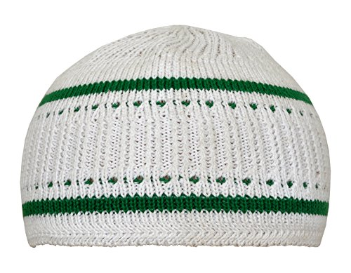 Kufi Skull Cap (Manal Enterprises Elastic Kufi Hat Skull Cap Beanies Men Muslim White & Green 100% Cotton Cap Islamic Head, Size : 21,22,23 inches (All Sizes Can Wear))