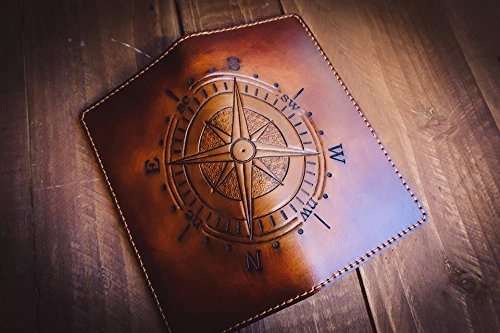 Men's 3D Genuine Leather Wallet, Long Travel wallet, Biker wallet, Hand-Carved, Hand-Painted, Leather Carving, Custom wallet, Personalized wallet, Compass by Theodoros