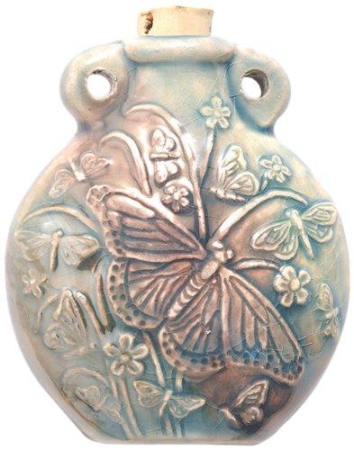Peruvian Hand Crafted Ceramic Raku Glazed Butterfly Bottle Pendant, 49mm Shipwreck Beads VN820