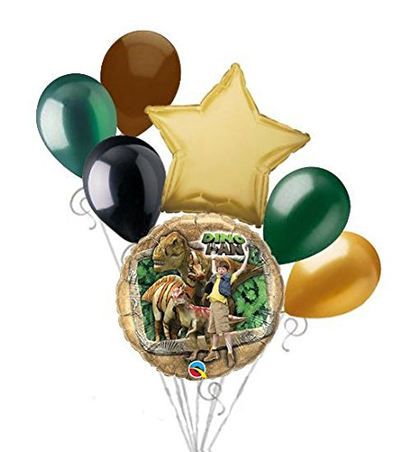 7 pc Dino Dan Dinosaurs Balloon Bouquet Party Decoration Happy Birthday by Jeckaroonie Balloons