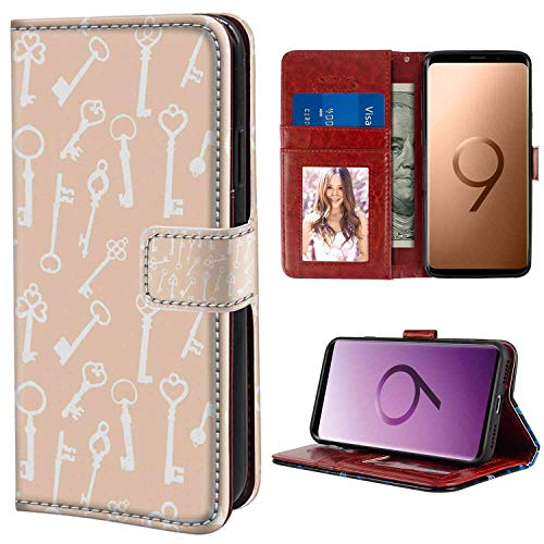 Samsung Galaxy S9 Wallet Case, Peach and White Pattern with Silhouette Antique Keys with Various Form Ornaments Pale Peach and White PU Leather Folio Case with Card Holder and ID Coin Slot