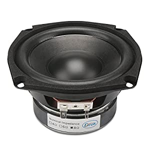 "DROK 4.5"" 8 Ohm Hifi Subwoofer Speakers Stereo Audio Loudspeaker, 40W DIY Loudspeaker with Good Bass for Desktop Computer Car Auto Motor Motorcycle Vehicle, Great Replacement for Sound System"