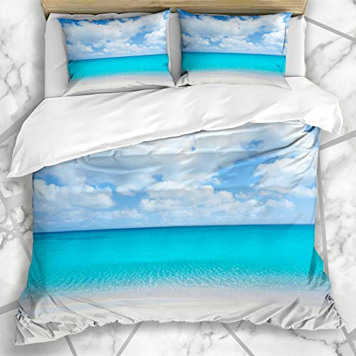 Ahawoso Duvet Cover Sets Queen/Full 90x90 Relax Blue Maya Beach Tropical White Sand Turquoise Water Nature Riviera Cancun Crystal Mexico Sandy Microfiber Bedding with 2 Pillow Shams