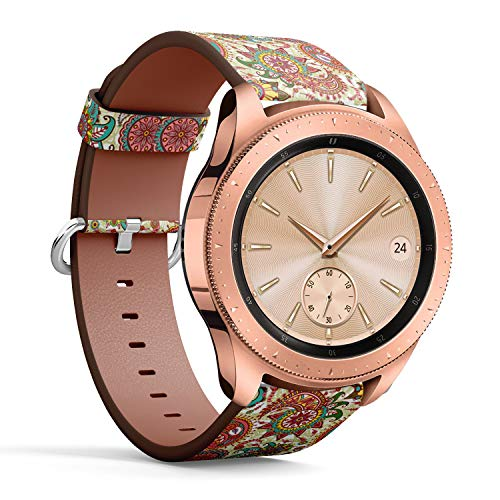 Compatible with Samsung Galaxy Watch (42mm) - Leather Watch Wrist Band Strap Bracelet with Quick-Release Pins (Paisley Flowers)