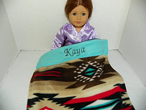 Personalized Monogrammed Kaya Southwest Print Fleece Blanket for American Girl Doll - West American Bed