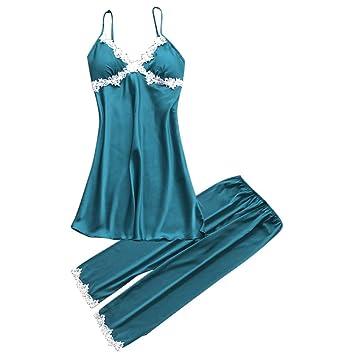 Proumy Conjunto de Pijamas de Seda Mujer Verano Camisola de Encaje Floral con Pantalones Largos Ropa