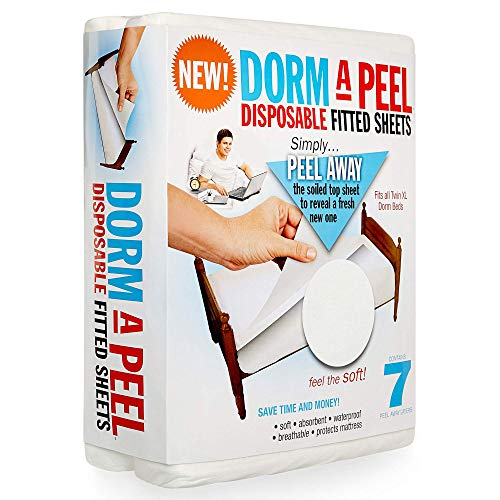 Dorm-A-Peel Disposable Bed Sheets Fitted for Twin XL Dorm Beds   7-Layer Soft, Absorbent, Incontinence Mattress Pad   Breathable, Waterproof, Disposable Bed Pad