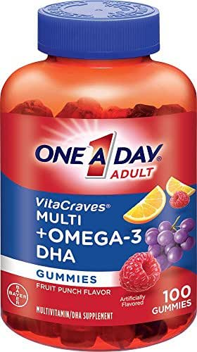 One-A-Day Vitacraves Multi + Omega-3 DHA Fruit Punch Gummies, 100 ea (Pack of 2)