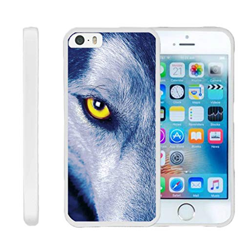 TurtleArmor | Compatible for Apple iPhone SE Case | iPhone 5/5s Case [Flexible Armor] Ultra Slim Compact Flexible TPU Case Fitted Soft Bumper Cover Animal Design - Wolf Eye
