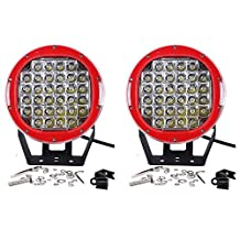 Turbo Pair 9 Inch 96w Led Driving Lamps 32pcs*3W Led Round Red LED Work Light For ATV UTE SUV Off-road Boat Jeep Wrangler Spot Driving Fog Light + Mounting Bracket Ip67