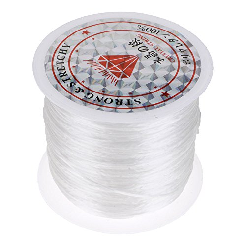 Mmrm 0.8mm 60m/roll Elastic Stretch Crystal String Cord for Jewelry Making Bracelet Beading Thread (White)
