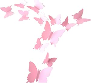 ALLICERE 12Pcs 3D Butterfly Removable Wall Decals DIY Home Decorations Art Decor Wall Stickers Murals for Babys Kids Bedroom Living Room Classroom Office(Color:Pink)