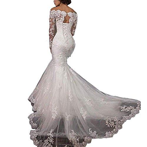 Wedding Gowns Ri: Ri Yun Women's Wedding Dresses Long Sleeve Lace Mermaid