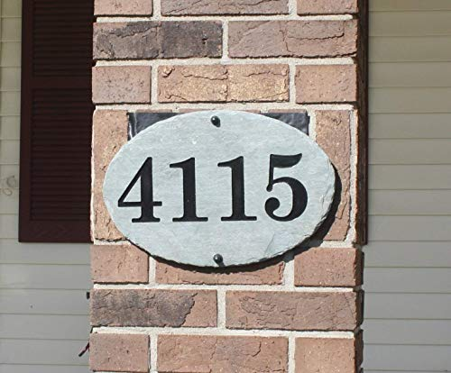 (Oval Carved Slate House Number Sign- With Post and)
