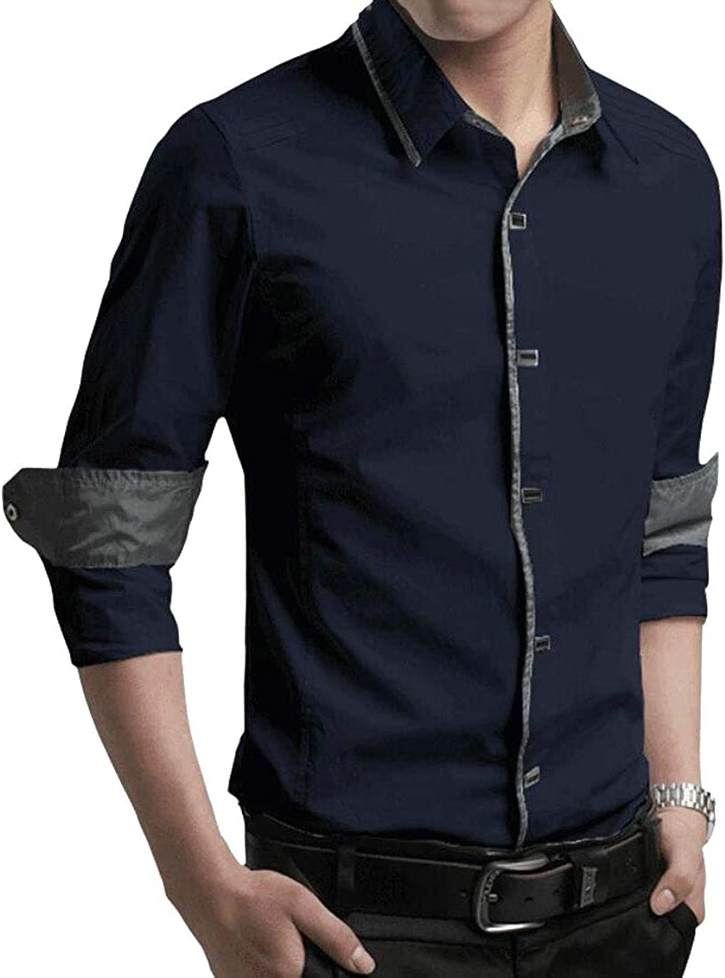 CYJ-shiba Mens Casual Slim Fit Cotton Solid Color Long Sleeve Button Down Shirts