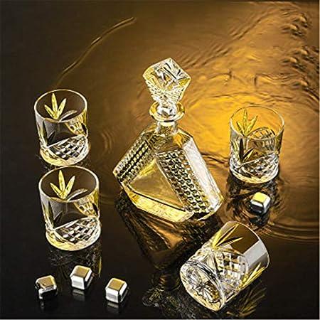 LiChaoWen Set Decanter con Vasos Decantador de Whisky y Conjunto de Vidrio para Hombres de Cristal decantador con 4 Gafas (Color : Clear, Size : 5 Piece Set)