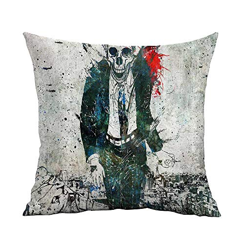 CRICKOOM Decorative Square Accent Pillow Case Dark Art Artwork Fantasy Artistic Original Psychedelic Horror Evil Creepy Scary Spooky Halloween Wallpaper HD W17.8 x L17.8,Throw Pillows for Bed -