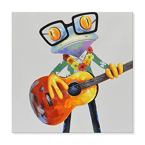 JAPO ART Funny Animal 100% Hand Painted Oil Painting with Stretched Frame Wall Art for Kids Room Bedroom Living Room Ready to Hang (Hawaiian Frogs Play Guitar, 24 x 24 Inch)