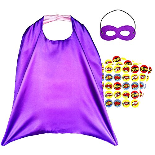Superheroes Girls Costumes Diy (Superhero Capes, Reversible Costume with Mask & Superhero Stickers for Kids)