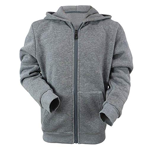 Boys Zip Hoodie, Lee Hanton Solid Sherpa Lined Full Zip Hoodie Boys, Sweatshirts Boys(MFJ105b-Lt.grey-14-we)
