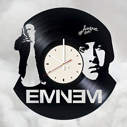 Eminem rapper art vinyl wall clock - handmade unique home bedroom living kids room nursery wall decor great gifts idea for birthday, wedding, anniversary - customize your clock (White/White)