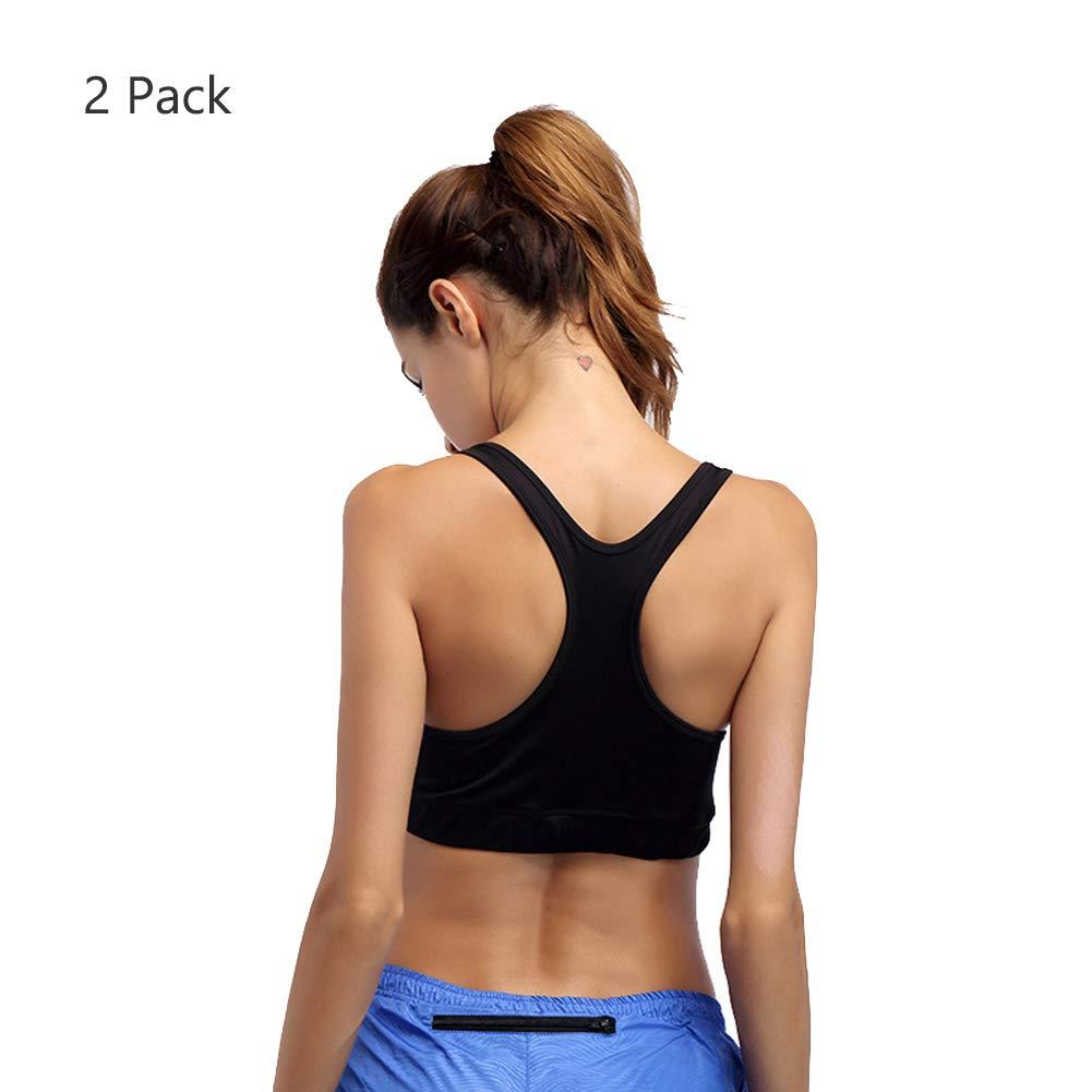 Sport-BH Big Busts Hohe Bequeme Criss Crossed Back Riemchen Fitness Pilates Yoga BHs für Frauen, Mini Camisole Bra -2 Pack