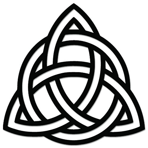 (Triquetra Celtic Knot Pagan Sign Symbol Vinyl Decal Sticker For Vehicle Car Truck Window Bumper Wall Decor - [6 inch/15 cm Wide] - Matte WHITE Color )