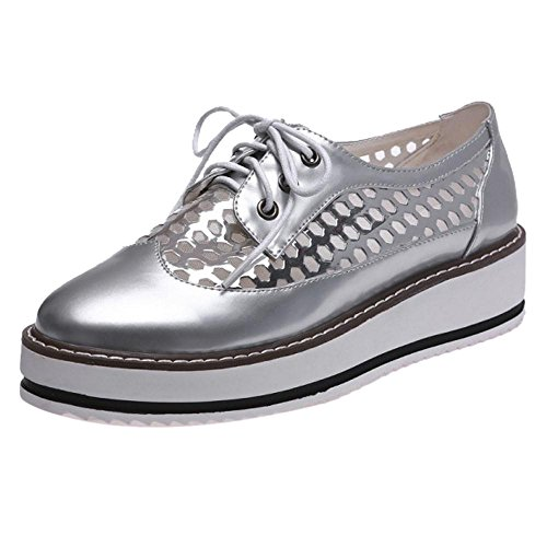 TAOFFEN Silver Shoes Up Lace Women's gzx6Bwrzq8