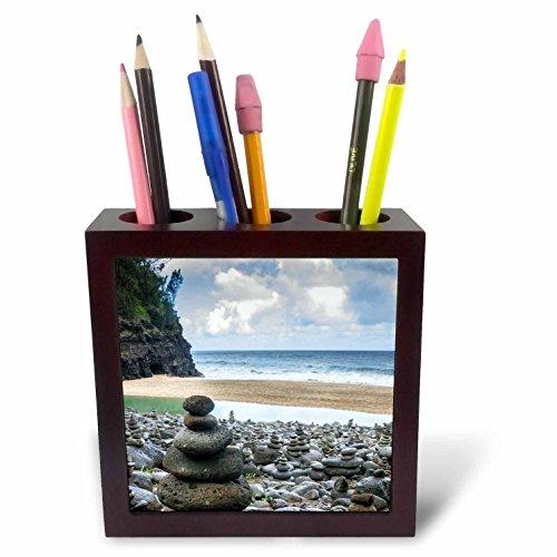 3dRose Danita Delimont - Beaches - Hawaii, Kauai, Napali, Napali Coast State Park, rock cairns - 5 inch tile pen holder (ph_278937_1) by 3dRose