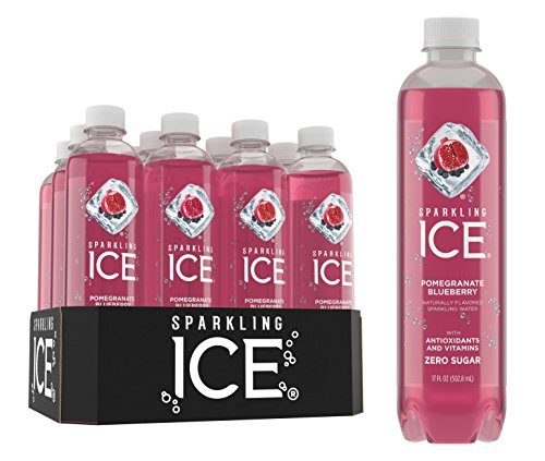 Boodles Gin - Sparkling Ice Pomegranate Blueberry Sparkling Water, with Antioxidants and Vitamins, Zero Sugar, 17 Ounce Bottles (Pack of 12)