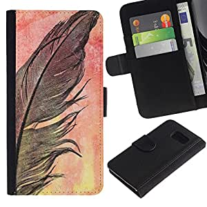 APlus Cases // Samsung Galaxy S6 SM-G920 // Pluma Crow Negro Acuarela Naturaleza // Cuero PU Delgado caso Billetera cubierta Shell Armor Funda Case Cover Wallet Credit Card