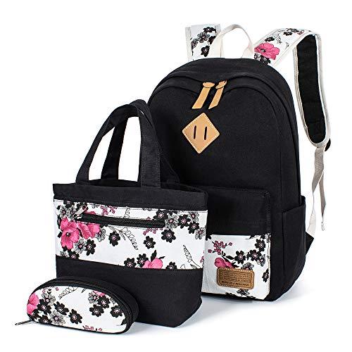 Leaper Floral Backpacks Teen Backpacks School Bags Bookbags Set 3 in 1 Black ()
