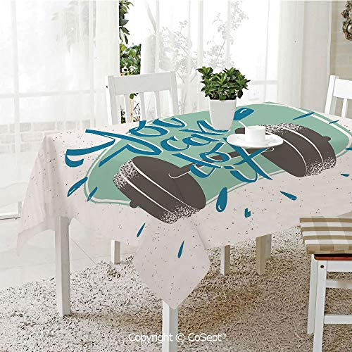 SCOXIXI Rectangle Tablecloth,Retro Display with Dumbbell Fitness Inspiration You Can Do It Phrase Decorative,Great for Table,Parties,Holiday Dinner(60.23