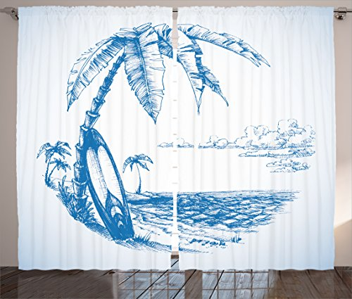 "Ambesonne Surf Curtains, Contemporary Sketch Illustration Hawaiian Beach with Surfboard Palms and Ocean Water, Living Room Bedroom Window Drapes 2 Panel Set, 108"" X 84"", Blue and White"