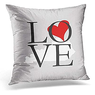 hgdsafiga Customize Funny Throw Pillows Covers Heart Kentucky State Cushion Pillowcases Square 18x18 Inches for Home,Indoor,Bed,Garden,Car,Office Decoration