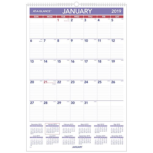at-A-Glance Monthly Wall Calendar, January 2019 - December 2019, 15-1/2