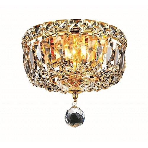 Elegant Lighting 2528F8G/RC Royal Cut Clear Crystal Tranquil 2-Light, Single-Tier Flush Mount Crystal Chandelier, Finished In Gold with Clear Crystals
