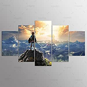 [LARGE] Premium Quality Canvas Printed Wall Art Poster 5 Pieces / 5 Pannel Wall Decor Legend Of Zelda Painting, Home Decor Pictures - With Wooden Frame