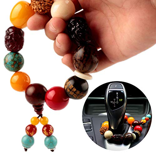 Move on Car Gear Shift Wood Buddha Beads Bracelet Rearview Mirror Hanging Ornament Decor S by Move on (Image #2)