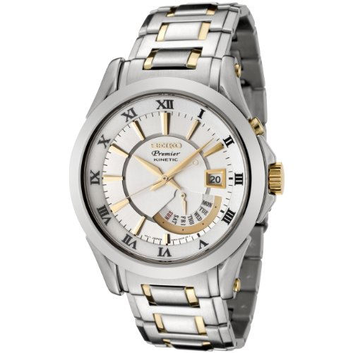 Seiko Men's SRN004 Premier Kinetic Silver Dial Two-Tone Stainless Steel Watch