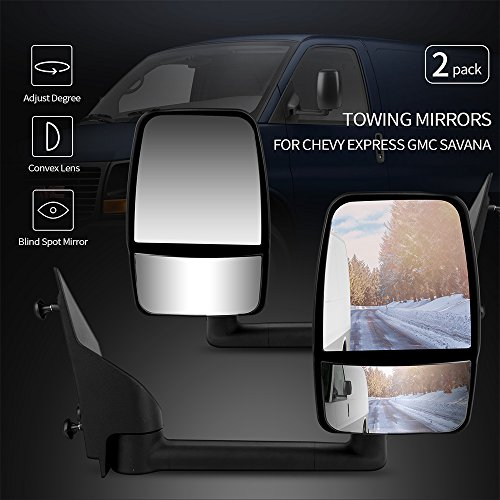 Towing Mirror Fits 2003-2017 Chevy Express GMC Savana | Side View Tow Mirrors Textured Black Pair Left and Right by IKON MOTORSPORTS | 2004 2005 2006 2007 2008 2009 2010 2011 2012 2013 2014 2015 2016