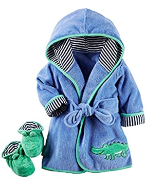 Carter's Baby Boys Alligator Robe & Bootie Set